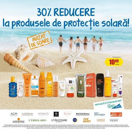 Sensiblu – 30% reducere la produsele de protecție solară. Ofertă valabilă în perioada 01.07.2018 – 31.07.2018, în limita stocului disponibil.