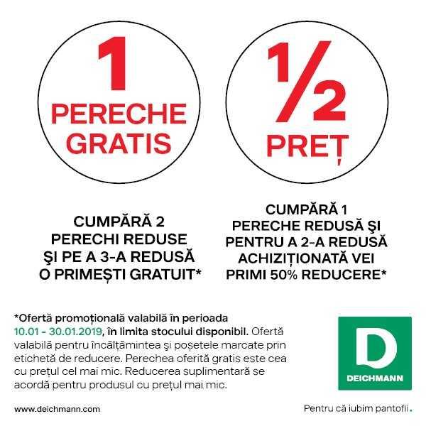 Deichmann – cumpără 2 perechi reduse și pe a 3-a o primești gratuit. Cumpără 1 pereche și pentru a 2-a achiziționată vei primi 50% reducere.